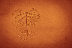 Leaf pattern stamped on clay Royalty Free Stock Photos