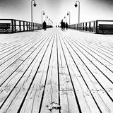 Leaf on the pier. Artistic look in black and white. Stock Image