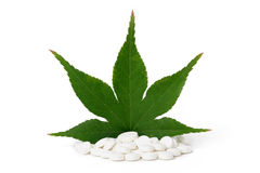 Leaf on pills Royalty Free Stock Photo
