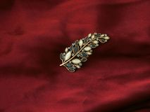 Leaf pin. On burgundy display cloth Royalty Free Stock Photos