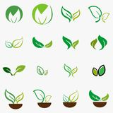 Leaf,plant,logo,ecology,people,wellness,green,leaves,nature symbol icon set of  designs. Royalty Free Stock Images