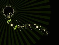 Leaf ray background. Black background with leaf and ray glowing elements royalty free illustration
