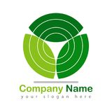 Leaf recycle logo green on white royalty free illustration