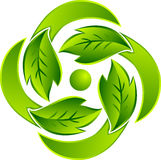Leaf round logo Royalty Free Stock Images