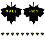 Leaf for sale and discount icon. Leaf for sale and discount icon set Royalty Free Stock Photos