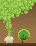 Leaf Saving. Green Design -- Conceptual Vector Illustration stock illustration