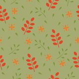Leaf seamless pattern on green background. Vector Stock Photos