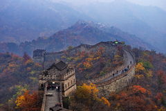 great wall autumn tints. China great wall twists up on the mountain ridge,like a very long dragon,there are trees with brilliant yellow leaves both the great Stock Images
