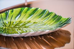 Leaf shaped decorative glass bowl Royalty Free Stock Images