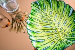 Leaf shaped decorative glass bowl Stock Photography