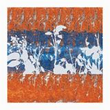 Autumn Flair. Leaf silhouettes in Blue over Orange field Digital artwork by RCN 2015 vector illustration
