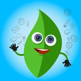 Leaf smile cartoon character green eco big eyes mascot hands Stock Photography