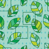 Leaf with square seamless pattern Royalty Free Stock Photo