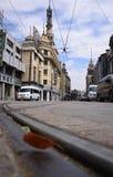 Leaf ,street building. Silence leaf, sigle track, empty street ,old building Stock Image