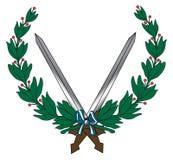 Leaf Sword emblem Royalty Free Stock Photos