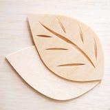 Leaf symbol logo concept, wood cutting design illustration. Icon sign royalty free stock photography