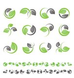 Leaf symbols, icons and signs collection vector illustration