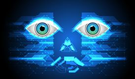 Abstract Face of Cyber robot Sci-fi futuristic user interface. Technology background. vector illustration