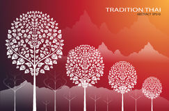 Leaf of thai tradition on red mountain background Royalty Free Stock Photo