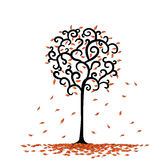 Leaf and tree is rounded cartoon in.  vector illustration