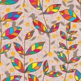 Leaf tribal style bird zen gold glitter seamless pattern royalty free stock image