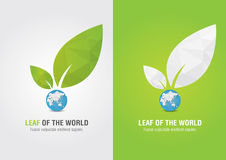 Leaf of the world. Eco volunteer icon. For green business soluti Royalty Free Stock Image