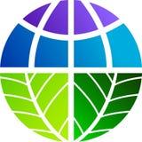 Leaf world logo. Illustration art of a leaf world logo with isolated background Stock Photo