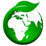 Leaf wrapped around globe Stock Photography