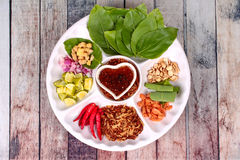 Leaf-Wrapped Bite-Size Appetizer, Miang Kum Stock Images