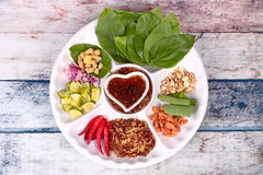 Leaf-Wrapped Bite-Size Appetizer, Miang Kum Royalty Free Stock Photos