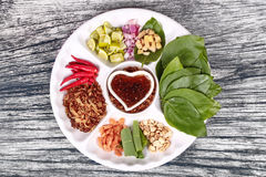 Leaf-Wrapped Bite-Size Appetizer, Miang Kum Royalty Free Stock Photography