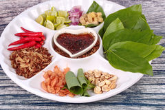 Leaf-Wrapped Bite-Size Appetizer, Miang Kum Royalty Free Stock Photo