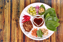 Leaf-Wrapped Bite-Size Appetizer, Miang Kum Royalty Free Stock Image