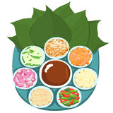 Leaf wrapped salad bite Thai appetizer  illustration Stock Image