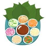 Leaf wrapped salad bite Thai appetizer  illustration Stock Image