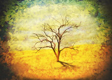 Leafless tree in desert landscape frame by leaves. Surreal landscape of a single leafless dead gum tree in the desert with a vignette of leaves. Vintage grunge royalty free stock images