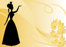 Leaflet background with black victorian lady silhouette on pastel yellow wallpaper with flowers. Royalty Free Stock Photography