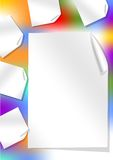 Leaflet background with rainbow stain and rolled papers Royalty Free Stock Photo