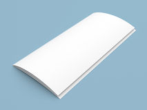 Leaflet blank tri-fold white paper brochure. Closed leaflet blank tri-fold white paper brochure mockup on blue background Royalty Free Stock Images