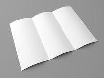 Leaflet blank tri fold white paper brochure Stock Image