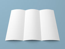 Leaflet blank trifold white paper brochure Royalty Free Stock Photos
