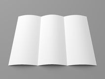 Leaflet blank trifold white paper brochure Stock Image