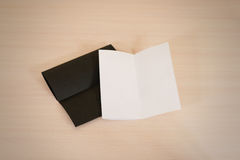 Leaflet blank two flyers. White and black paper brochure mockup Stock Photos