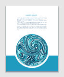 Leaflet flyer with circle of blue water swirls Stock Photos