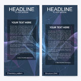 Leaflet flyer layout. Magazine cover corporate identity template. Science and technology design, structure DNA Stock Images