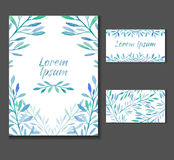 The leaflet, invitation with space for text and business card templates. With blue watercolor plants for your business Stock Photos