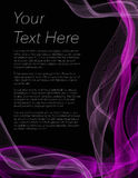 Leaflet, poster or flyer with black background and purple colour Royalty Free Stock Photography