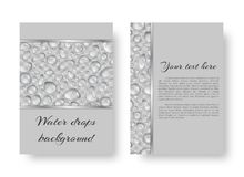 Leaflet with rain drops. A brochure template with an eco-friendly background of shiny drops of dew Stock Photography