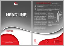 Leaflet Template with Gray Wavy Background Stock Images