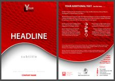 Leaflet Template with Red Wavy Background Royalty Free Stock Images